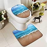 SOCOMIMI 2 Piece Toilet lid Cover mat Set Collection India Andaman Islands Calm Sea Soft Sand Beach Summer Photography Accessories Customized Rug Set