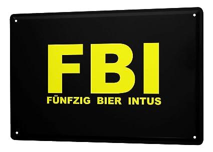 Amazon.com: Cartel de chapa refranes FBI Cincuenta cerveza ...