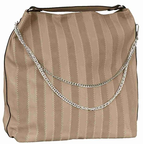 Clayre & Eef BAG152 Custodia borsa in ecopelle beige a Righe circa 39 x 40 cm