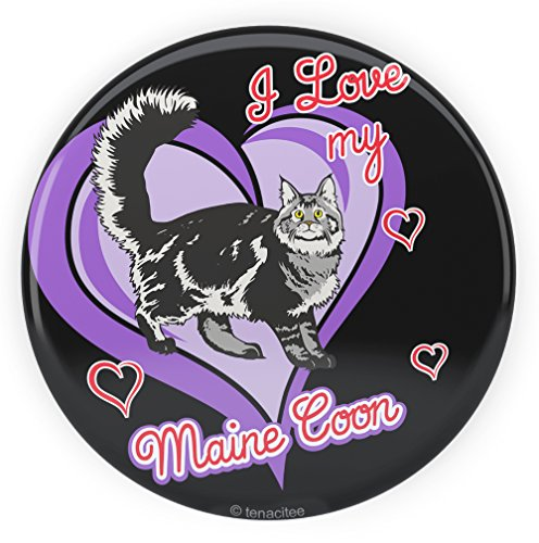 Largest Maine Coon Cat - Tenacitee Maine Coon Cat Pinback Button, 2.25