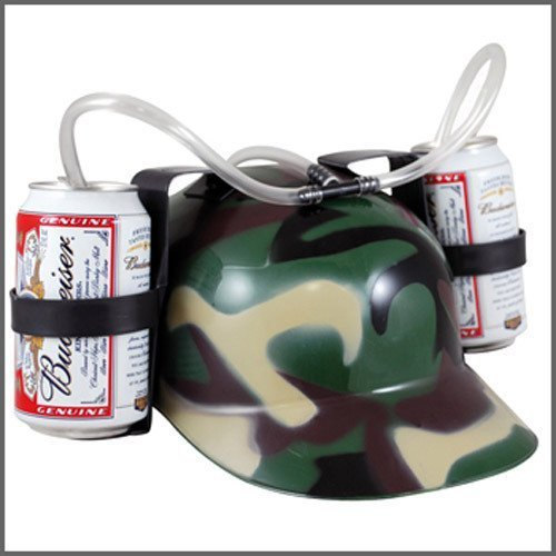 Old Burger Soda Cola Beer Hat Cap Drinking Helmet with Straw for Party Game(Green Camouflage)