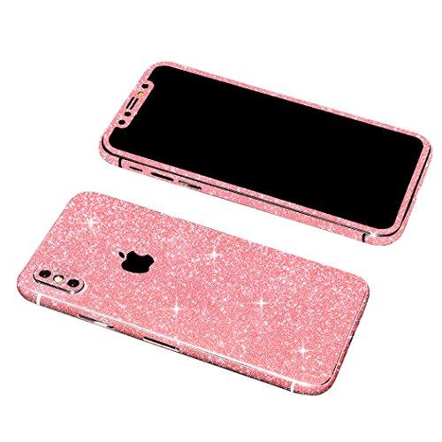 iPh X Bling Skin Sticker, Supstar Full Body Coverage Glitter Vinyl Decal - Dustproof, Anti-Scratch Apple iPhX 2018 (Light Pink)
