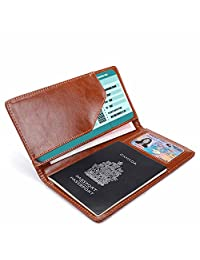 Phenas Cowhide Leather ulti-Fuction Travel Passport Case Passport Holder Cover Luggage Travel Wallet With 2 Matching Luggage Tags and 1 Luggage Strap (Brown)