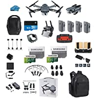 DJI Mavic PRO FLY MORE COMBO Portable Collapsible Mini Racing Drone with 4 Total Batteries, DJI Bag + 2 64GB SD Cards + Range Extender, Car Charger, Landing Gear, Waterproof Backpack Plus