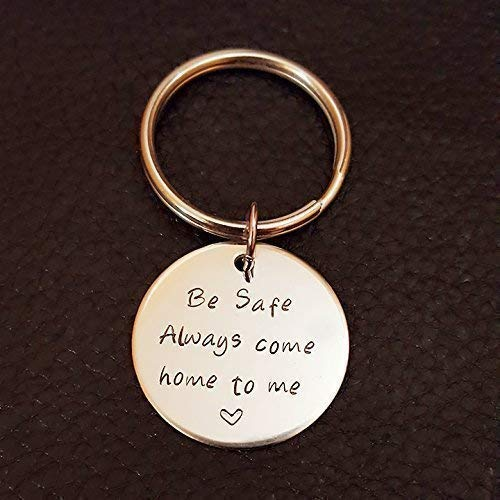 Be Safe Key Chain, Always Come Home to Me, Handstamp, Police Officer Gift, Military Law Enforcement, Firefighter Hero Be Safe Gift