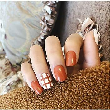 Juego de 2 clavos de uñas postizas con diseño de rejilla: Amazon ...