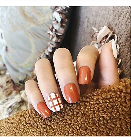 Juego de 2 clavos de uñas postizas con diseño de rejilla ...
