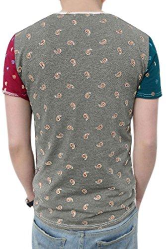Maenner T-Shirt - SODIAL(R) Maenner Paisley gedruckte Farbblock dehnbare weiche T-Shirt WEISS Asien M