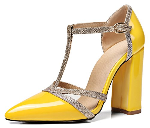 (Aisun Women's Pointed Toe Pump Sandals with Ankle Strap - Burnished Buckled Block - T Strap High Heels (Yellow, 9 B(M) US))