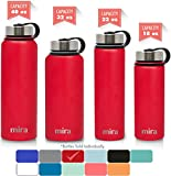 hot water thermo bottle - MIRA 40 Oz Stainless Steel Vacuum Insulated Wide Mouth Water Bottle | Thermos Keeps Cold for 24 hours, Hot for 12 hours | Double Walled Powder Coated Travel Flask | Red