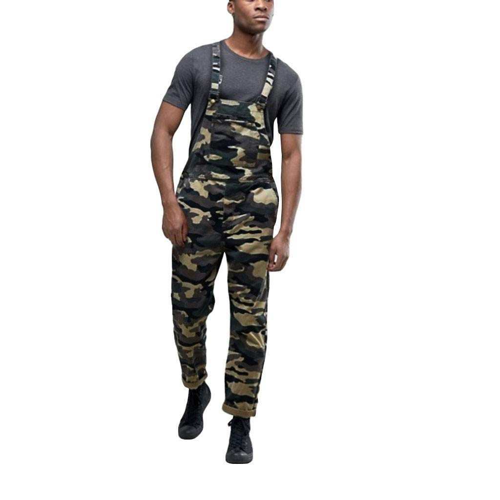 Charberry 2019 New Mens Camouflage Jeans Overall Jumpsuit Overall Suspender Pants by Charberry Men's Wear