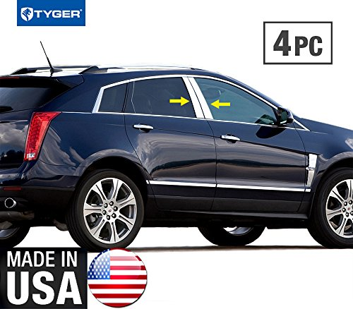 Made in USA! Works with 2010-2015 Cadillac SRX 4PC Stainless Steel Chrome Pillar Post Trim