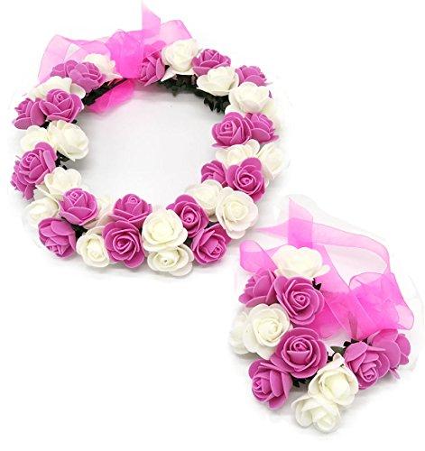Coolwife Flower Crown Wedding Hair Wreath Floral Headband Garland Wrist Band Set (Z Rose Red/White)