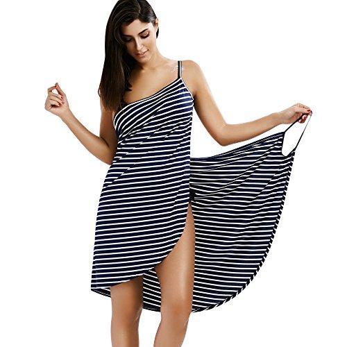 ZAFUL Women's Striped Beach Coverup Dress Swimsuits Spaghetti Strap Sexy Backless Bikini Wrap Dress(Black M) (Striped Cover Up)