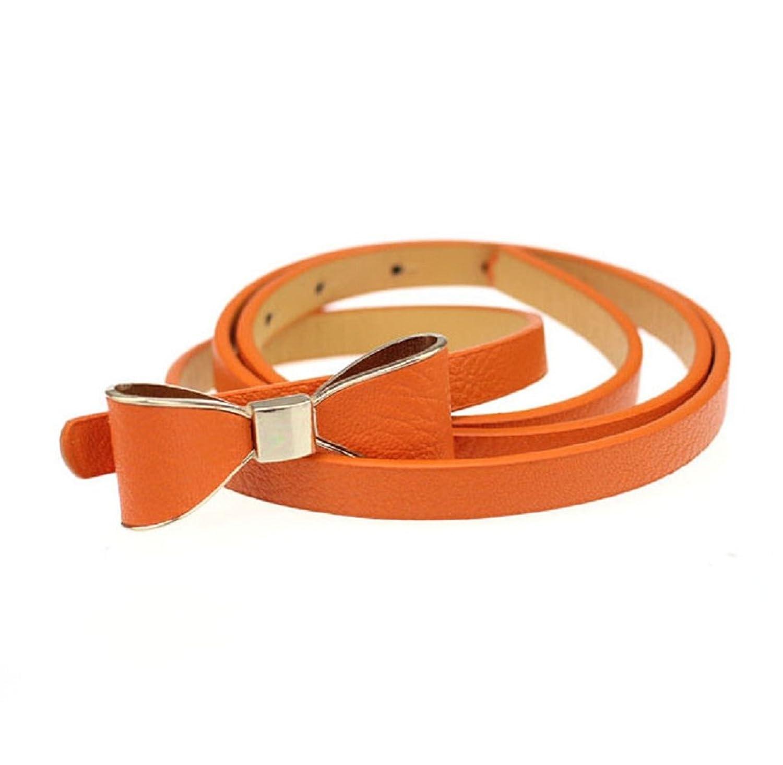 Rukiwa1PC Candy Leather Women Skinny Butterfly Bow Waist Belt Waistband