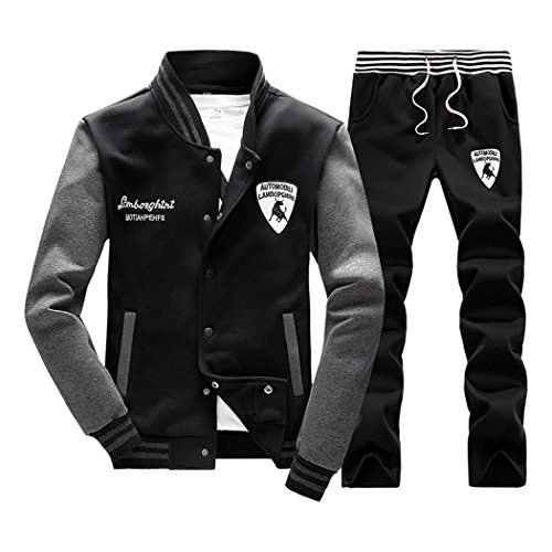 Sun Lorence Men's Slim Fit Jogging Baseball Sweat Suit Set Casual Sports Tracksuits Black L ()