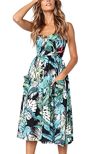 (Angashion Women's Dresses-Summer Floral Bohemian Spaghetti Strap Button Down Swing Midi Dress with Pockets 650 Green XL)