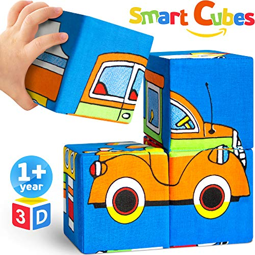 Soft Match and Building Blocks - Baby Toys for 6 Months - Educational Toddler Toys - Hypoallergenic 100% Cotton - Bright Activity Cube - 4 Puzzling Foam Stacking Blocks Infant Toys for Boys Girls