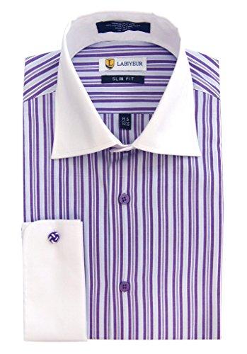 Purple Stripe Dress Shirt (Labiyeur Men's Slim Fit French Cuff Striped Dress Shirt 16 | 34-35 Purple Stripes/White)