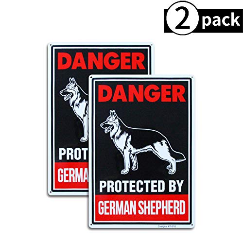 Beware of German Shepherd Sign Beware of Dog Sign Large10x14 inch Rust Free 30 mil Thick Aluminum,UV Printed Weather Resistant Ink,Easy to Mount for Fence(2-Pack)