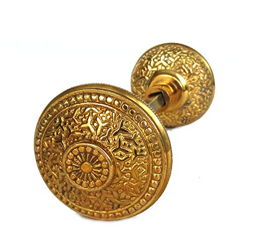 Vintage Brass Beaded Rice Victorian Arts and Crafts Style Door Knob Pair ()