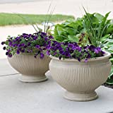 Sunnydaze Elizabeth Ribbed Urn Indoor/Outdoor Planter Pot Set of 2, Pebble Grey Finish, Polyresin, 16-Inch Diameter