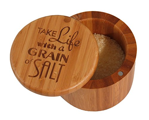 "Totally Bamboo Salt Box, ""Take Life with a Grain of Salt"", Etched 100% Bamboo Container w/ Magnetic Lid For Secure Strong Storage for Spices, Herbs, Seasoning & MORE!"