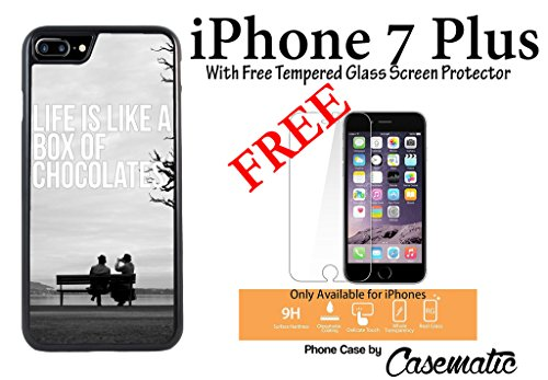 iPhone Case Life Chocolate Quote Rubber Black Phone Case For Apple iPhone 7 Plus With Free .33 mm Premium Tempered Glass Screen Protector by Casematic ()