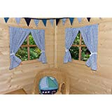 PLAYHOUSE CURTAINS ~ BLUE GINGHAM ~ WITH TIE-BACKS & FITTINGS ~ DEN/PLAYHOUSE DECORATION by GOOSEBOOSE