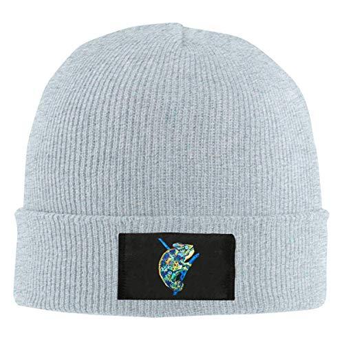 JOMYY Unisex Elastic Knitted Beanie Cap Lovely Reptile Chameleon Logo Winter Outdoor Warm Skull Hats