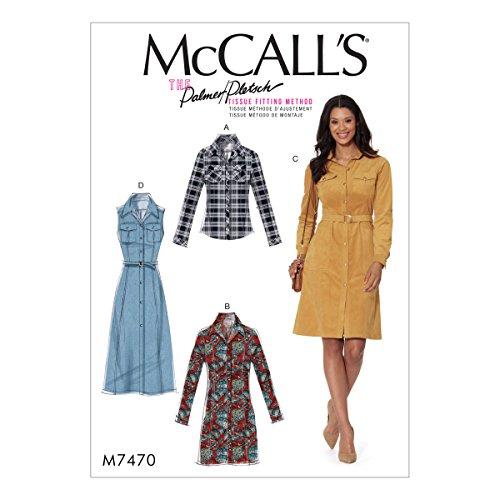 McCall's Patterns M7470E50 Misses' Button-Down Shirt Belt Shirtdress (Dress Misses Shirt)