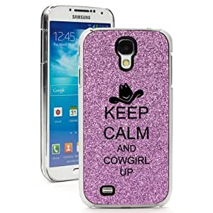 Purple Samsung Galaxy S4 SIV Glitter Bling Hard Case Cover GK229 Keep Calm and Cowgirl Up with Hat (Purple) by ruishername