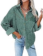 FUNWAVE Vrouwen Corduroy Button Down Shacket Casual Shirt Jas Revers Lange Mouw Klinknagel Effen Kleur Oversized Blouse Tops