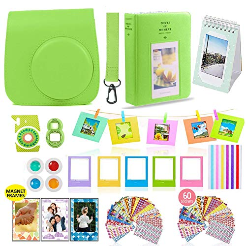 Fujifilm Instax Mini 9 Camera Accessories Bundle, 14 PC Kit Includes: Lime Instax Mini Case + Strap, 2 Albums, Color Filters, Selfie Lens, Magnets + Hanging + Creative Frames, 60 Stickers, Gift Set