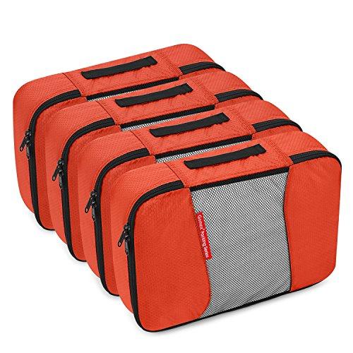 Sized Cube - Gonex Packing Cubes Travel Organizer Cubes for Luggage 4xMedium Tangerine