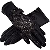 Women's Bridal Wedding Lace Gloves Derby Tea Party Gloves Victorian Gothic Costumes Gloves (Bowknot black)