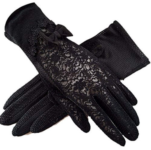 Women's Bridal Wedding Lace Gloves Derby Tea Party Gloves Victorian Gothic Costumes Gloves (Bowknot black) - Stretch Vintage Gloves