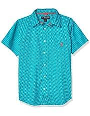 U.S. POLO ASSN. Boys Short Sleeve Printed Woven Shirt Short Sleeve Button Down Shirt