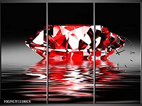 Orologi Da Parete In Tela : Tlg tela foto orologio da parete diamante rosso in acqua murale