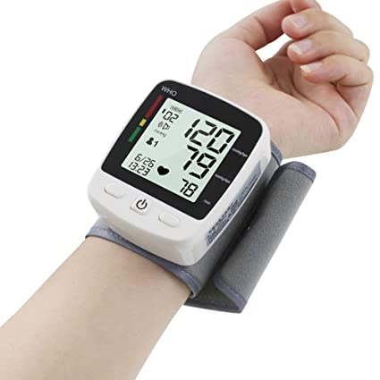 Automático De La Muñeca Tensiómetro LED Pantalla Grande Presión Arterial Monitores Medición USB Carga De Voz