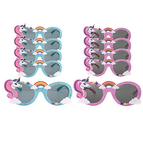 10 Pack - Unicorn Party Supplies - (5) Blue and (5) Pink Unicorn Shaped Sunglasses - Party Pack - Perfect Party Favors