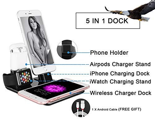 WNJW-Aluminum-5-in-1-Wireless-Charging-Dock-Charger-Stand-Compatible-iPhone-XXsXs-Max88PlusSamsung-Galaxy-S9S9Plus-Phone-Charging-Stand-Station-Compatible-Apple-watchAirpodsiPhone77plus
