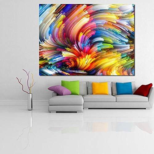 色付きのラインの油絵キャンバスの壁の絵の写真リビングルームのポスターとプリント50×60センチなしフレーム