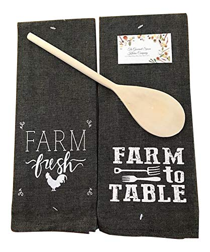 Farm to Table Kitchen Towel Set,Grey, 2 Piece Set, Dish Towels & Winco Wooden Spoon
