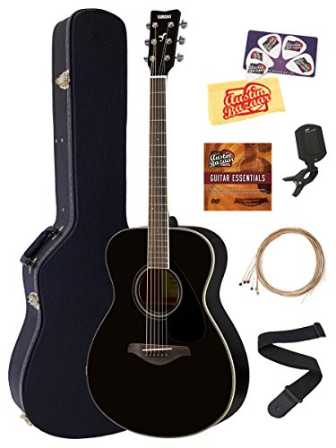 Yamaha FS820 Solid Top Small Body Acoustic Guitar - Black Bundle with Hard Case, Tuner, Strings, Strap, Picks, Austin Bazaar Instructional DVD, and Polishing Cloth