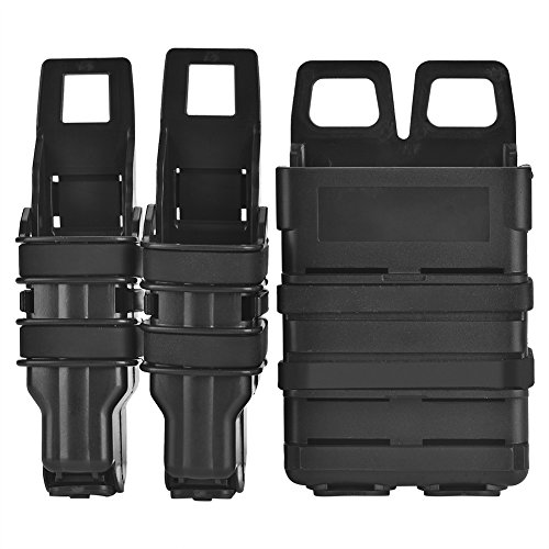 Enhanced Pistol Mag Pouch - Vbestlife Fast Mag Pouch Holster,Tactic Molle Holster Magazine Bag Rifle Pistol Mag Pouch Set for Military Hunting (Black)