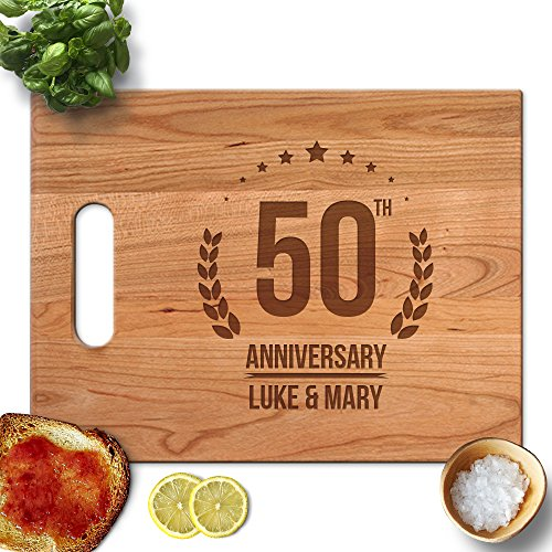 Froolu 50th Anniversary custom cutting boards wood for Couples Name Engraved Gifts