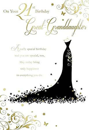 On Your 21st Birthday Great Granddaughter Dress Design Happy Card Amazoncouk Office Products
