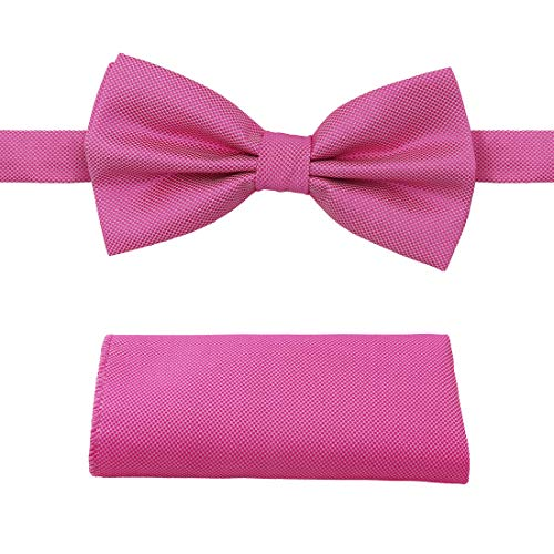 Hot Pink Checker - Dan Smith C.C.O.U.002 Hot Pink Bow Tie Checkers Fashion Microfiber Pre-tied Bow Tie Cufflinks Hanky Set
