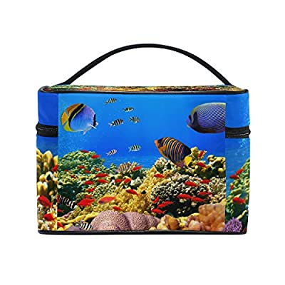 93bd11c2eb Underwater World Corals Fish Portable Travel Makeup Cosmetic Bags Toiletry  Organizer Multifunction Case delicate